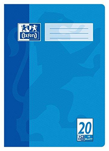 "OXFORD 100050306 \""Schule\"" Schulheft   1 Stück   A4   16 Blatt   90 g/m²   Lineatur 20 - blanko   blau"