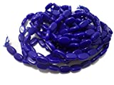 Beadsnfashion Glass Flat Oval Beads Blue for DIY Jewellery Making, Beading, Art and Crafts Material, Size 11x7mm, Pack of 5 Strings