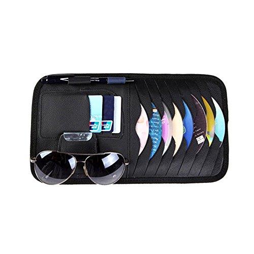 SKR Auto 4-in-1 Sonnenblende Brillen-Halter Kartenhalter,CDs,Karten,Stift,Brille,Sonnenblende Tasche Aufwahrungstasche Schwarz