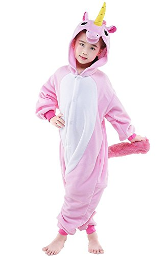 Enfant Unisex Kigurumi Ensemble de Pyjama Licorne Combinaison de Nuit Halloween Noel Cosplay Costume Pyjama (Etiquette 125 (Convenable 135-145cm), Rose)