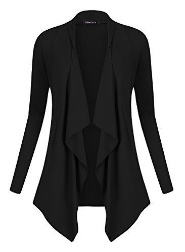 Urban GoCo Women's Drape Front Open Cardigan Long Sleeve Irregular Hem