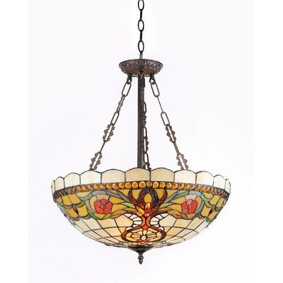 Preisvergleich Produktbild Chloe Lighting CH31885VT20-UH3 BERLEENA Tiffany-Style Victorian 3 Light Inverted Hanging Pendant Fixture 20-Inch Shade by Chloe Lighting