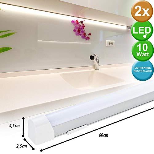 Ensemble de 2 lampes de sol à LED Cuisine Cuisine Salle de bain Atelier Mur Lumière jusqu'à tube Spotlight