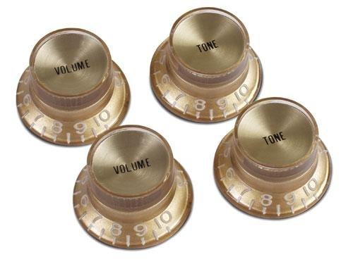 Gibson Top Hat Style Knob gold / gold Set (4 Stück) (PRMK-030) Les Paul Gold Top