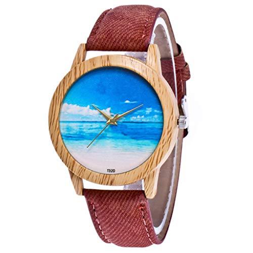 Armbanduhr modisch Unisex mit Musiknoten Muster rundes Zifferblatt silberfarben metall Frauen Uhr, Kaffee -