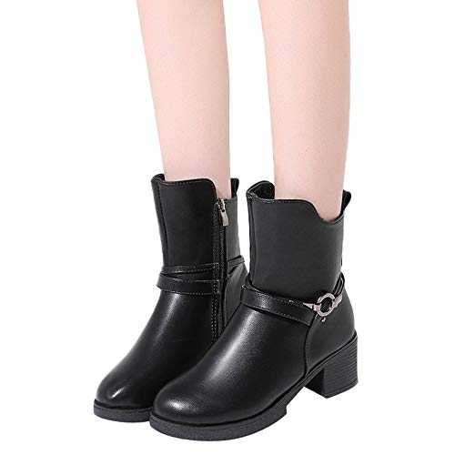 MYMYG Damen Stiefel Wedges Buckle Strap Leder Middle Boots Schuhe Ankle Boot Western Cowboy Ankle Booties Vintage Low Heel Starke Ferse Stiefel Schuhe