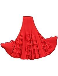 Dolity Traje de Baile Flamenco Baile Vals Vestido Largo Falda Larga de Chicas