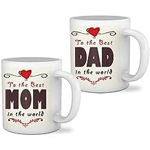 Tied Ribbions Printed Coffee Mug, 325ml, Set of 2, Multicolour