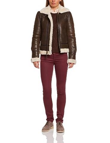 Schott - blouson - en cuir - femme - marron (dark brown) - xs