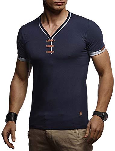 LEIF NELSON Herren Sommer T-Shirt V-Ausschnitt Slim Fit Baumwolle-Anteil | Basic Männer T-Shirt V-Neck Hoodie-Sweatshirt Kurzarm lang | Weißes Jungen Shirt Kurzarmshirts | LN4890 Dunkel Blau X-Large