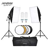 طقم خيمة إضاءة في صندوق التصوير الضوئي من Andoer Photo Video Equipment 2 * 135W Bulb 2 * حامل الضوء 2 * Softbox 1 * 60 سم 5 في 1 عاكس التصوير 1 * حقيبة حمل لصور الزفاف