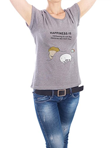 "Design T-Shirt Frauen Earth Positive ""happiness is"" - stylisches Shirt Kindermotive Comic von Lingvistov Grau"