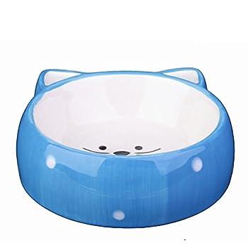 KAMIERFA Gamelle d'Animal Domestique en Forme de Chat Mignon Bol pour Chien Chat - Bleu