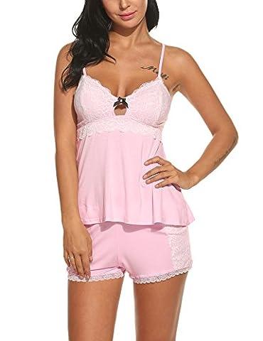 HOTOUCH Damen Nachthemd Schlafanzüge Kurz Nachtwäsche Sexy Negligee Wäsche Set mit Verstellbarem Schultergurt Rosa XL