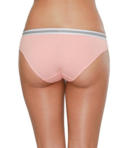 Attraco Damen Slips Baumwolle Bikinislips Streifen Details 4 Pack Bikinislips 6057