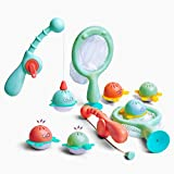 GizmoVine Badespielzeug-Fischen schwimmendes Wasserspray Spielzeug und Suppenkelle mit Aufbewahrungstasche,das Fischernetz Spielzeug für Kinder in Badewanne Badezimmer Schwimmbad