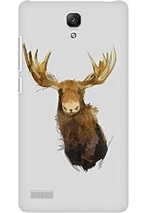 AMEZ designer printed 3d premium high quality back case cover for Xiaomi Redmi Note Prime (Moose illust minimal art)