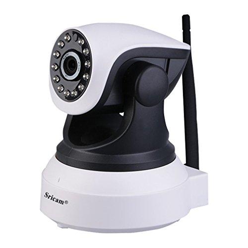 Cámara IP Wifi Sricam Cámara de Vigilancia Interior HD 720P P2P Pan/Tilt IR Visión Nocturna Detección de Movimiento CCTV Sistema Seguridad para el Hogar/Bebé/Mascotas con Micrófono y Altavoz