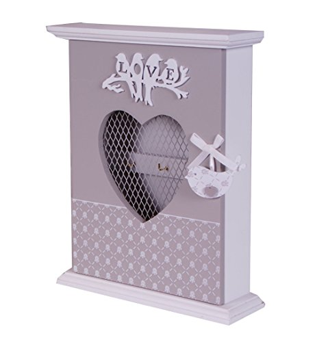 Wooden Shabby Chic Keys Hooks Rack Cabinet Heart HOME Box