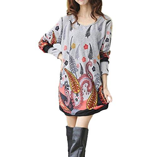Minetom Femme Shirt Boho Manches Courtes Col Rond Blouse Tops Chemise Feuilles grises
