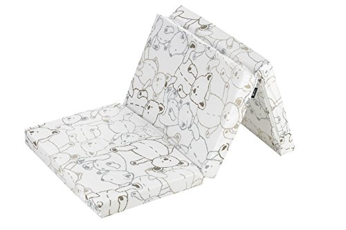 Alvi Reisebettmatratze 60 x 120 cm faltbar | Matratze mit Tragetasche | Dicke Matratze 6 cm | atmungsaktiv & waschbar & klappbar | Bezug 100 % Baumwolle abnehmbar | Kern aus Komfort-Schaumstoff, Design:Bärchen beige
