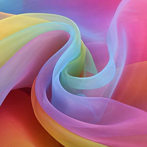 (16 Fuß x 54 Zoll Regenbogen Organza Mehrfarbige Voile Kleid Stoff Phantasie Kostüme Dekorationen)