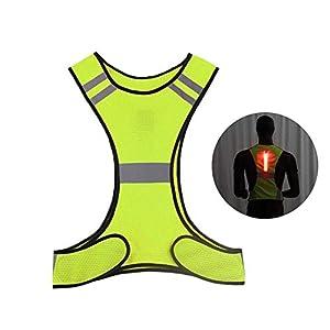 419P6wKcUTL. SS300 ad alta visibilità di sicurezza catarifrangente corsa con luci LED, regolabile riflettente gilet a righe con tasca interna per notte ciclismo, sport, ciclismo, passeggiate. traspirante Yellow