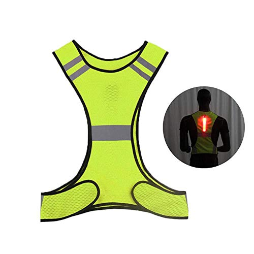 KOBWA Chaleco Reflectante de Alta Visibilidad con Luces LED, Tiras Reflectantes Ajustables con Bolsillo Interior para Ciclismo Nocturno, Deporte, Ciclismo, Senderismo. Ultra Ligero Transpirable