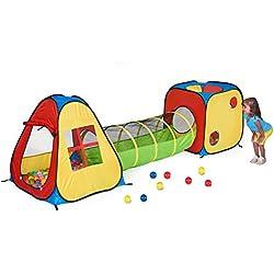 Utex 3 en 1 Pop Up Jouer Tente avec Tunnel, Balle Pit pour Les Enfants, garçons, Filles, bébés et Enfants en Bas âge, Playhouse intérieur / extérieur