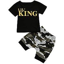 Conjuntos bebé Niño ❤️ Amlaiworld Recién nacido Niño pequeño niños bebés camiseta Tops Camisas y pantalones cortos de camuflaje Conjunto de ropa trajes de Chico