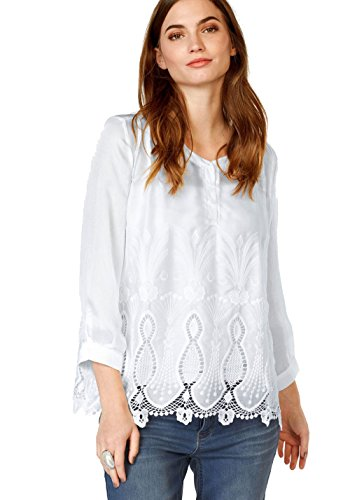 Malvin Damen Spitzentunika Bluse Tunika mit Spitze (Weiß, 40)