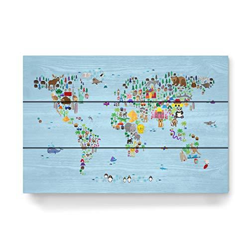 artboxONE Holzbild 45x30 cm Kartografie Animal Map of The World V von Künstler Michael Tompsett