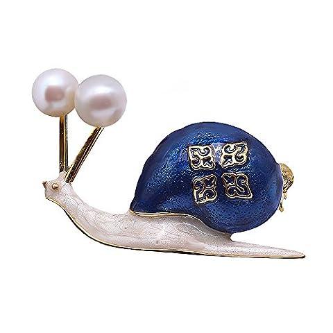 jyx snail-shape Lovely Blue 6,8mm weiß Pearl Broschen Pins Bouquet Brautschmuck Hochzeit Geburtstag Weihnachten Geschenke für Mama/Mädchen/Damen