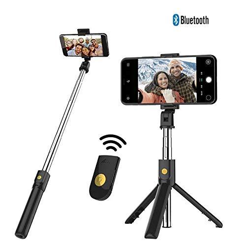 MEIM Bluetooth Selfie Stick, Kabelloser Auslöser Bluetooth 4.0 Handy-Stativ Mit Fernbedienung Kompatibel Mit Familienfotos,Black
