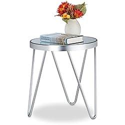 Relaxdays Beistelltisch Glas, Chrom, Spiegelglas, Beistelltischchen, Kaffeetisch, edel HBT: 47 x 41,5 x 41,5 cm, silber