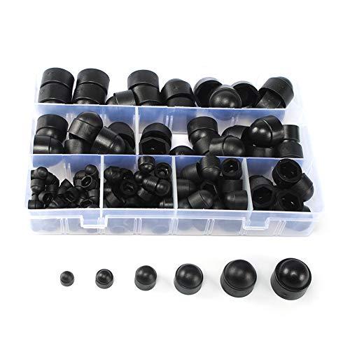 Surtido de tuercas de plástico, tapas de tornillos con caja de almacenamiento, 145 piezas negro M4 M5 M6 M8 M10 M12 Nylon Insertar Locknut para tornillos o pernos a juego, New, m4 m5 m6 m8 m10 m12