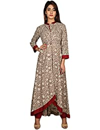 Missprint Beige And Maroon Hand Block Printed Up-Down Indo Western Kurta Dress With Pants
