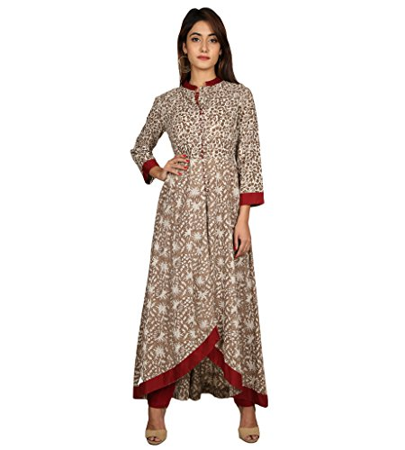 b9729576aee Missprint Beige And Maroon Hand Block Printed Up-Down Indo Western Kurta  Dress With Pants