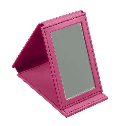Lucrin Trousse à Maquillage Miroir Rectangulaire de Poche Cuir Vachette Lisse 11 cm Rose (Fuchsia) PM1095_VCLS_FCS
