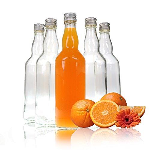 Glas-Flaschen 500ml (0,5L) mit Schraub-Verschluss / Schraub-Deckel, 5 Stück im Set, Glas-Flasche Set zum selbst Befüllen und Abfüllen, mit Drehverschluss luft-dicht, leere Flaschen - Marke YOUZiNGS