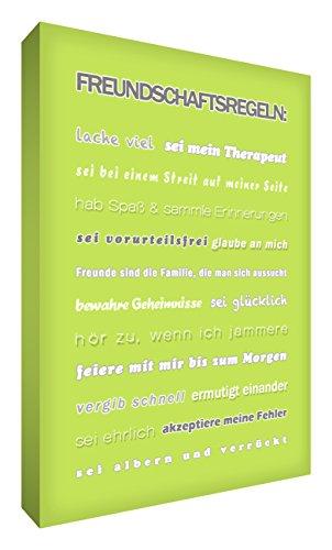 Little Helper FRDR1216-02G Wandschmuck aus starker Leinwand im modernen typographischen Stil Freundschaftsregeln, 30.5 x 41 cm, lindgrün