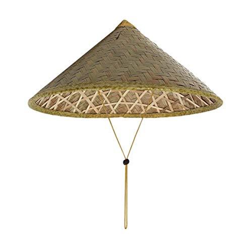 Kühlen Kostüm Asiatische - Garciadia Chinesischer orientalischer Coolie-Sonnenhut mit Bambusstrohhut Tourismus-Regenmütze Konischer Bauer Unisex-Reishut (Farbe: Bambusfarbe)