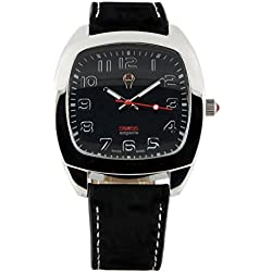 Swiss Emporio Men's Quartz Swiss Made Watch with Black Dial Analogue Display and Black Leather Strap SE05BKSL10