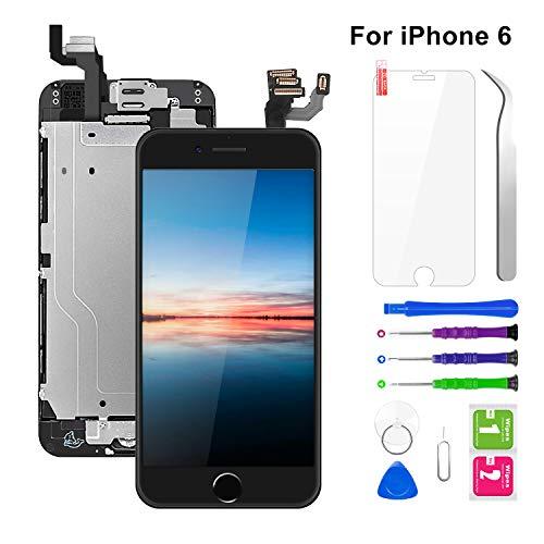 """BuTure Display per iPhone 6 Schermo LCD Touch Nero(4.7"""" Pollici),Assemblaggio Digitalizzatore Compatibile (con Home Pulsante, Fotocamera,Altoparlante,sensore di prossimit) Kit Completo di Riparazione"""