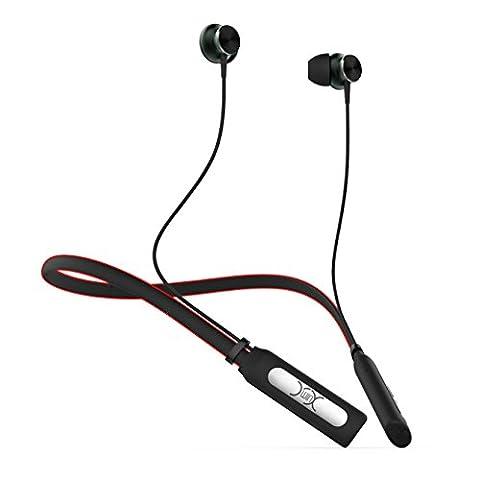 YXwin Écouteurs Bluetooth Écouteurs sans fil Bluetooth Écouteurs stéréo Écouteurs anti-bruit avec microphone noir