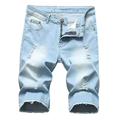 Jean-rock Leggings (❤❤JiaMeng Damen Elastic Destroyed Jeanshosen, Casual Leggings Kurze Hosen Denim Shorts Ripped Jeans Sommer Mode Frauen Einfarbig Shorts)
