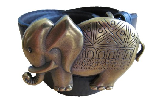 Moda Mujer Piel Cinturón Elegante Elefante con hebilla con banda negro o...