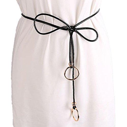 DOLDOA Damen Dame Fashion Gürtel Stil Körper Ring Gürtel (Schwarz) (Ärmelloses Drucken Körper)
