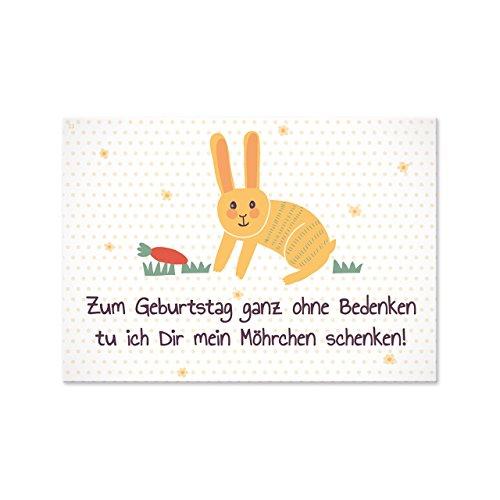 Sheepworld, Gruss & Co - 77357 - Postkarte, Tierisch liebe Grüsse Nr. 23, Zum Geburtstag ganz ohne Bedenken tu ich Dir mein Möhrchen schenken!