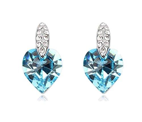 Sojewe Damen Herz Bolzen Ohrring Blau Swarovski Elements Kristall Weiß Vergoldet Mode Accessoires Geschenk für Party - Kristall-herz-bolzen-ohrringe